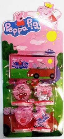 набор штампиков Свинка Пеппа 4шт. со штемпельной подушечкой (цв.красный+ си